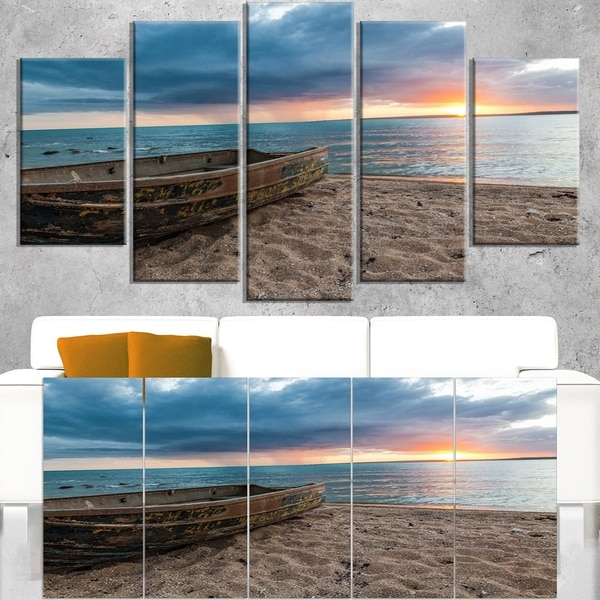 Rusty Row Boat on Sand at Sunset - Extra Large Seascape Art Canvas