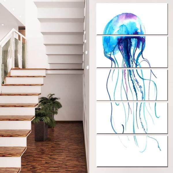 Designart 'Large Light Blue Jellyfish' Animal Artwork on Canvas
