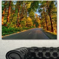 Designart 'Road Through Yellow Forest' Extra Large Landscape Art Canvas