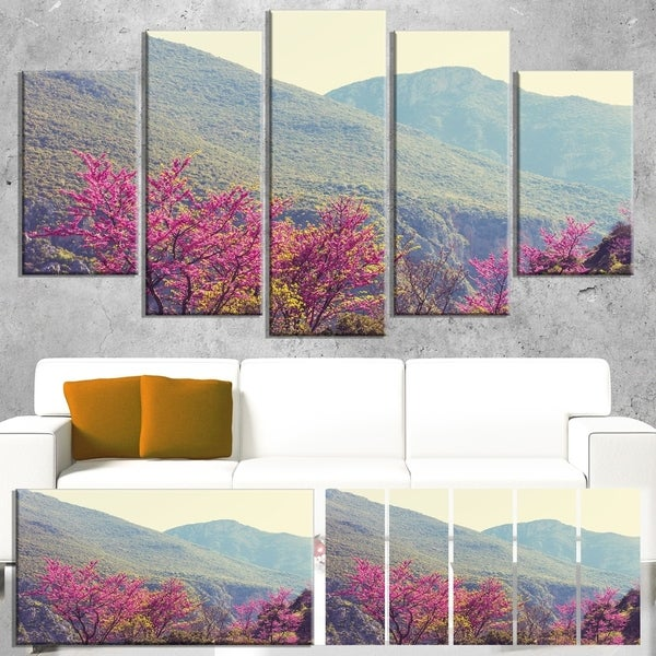 Designart 'Pink Blossoming Flowers in Mountains' Floral Artwork on Canvas