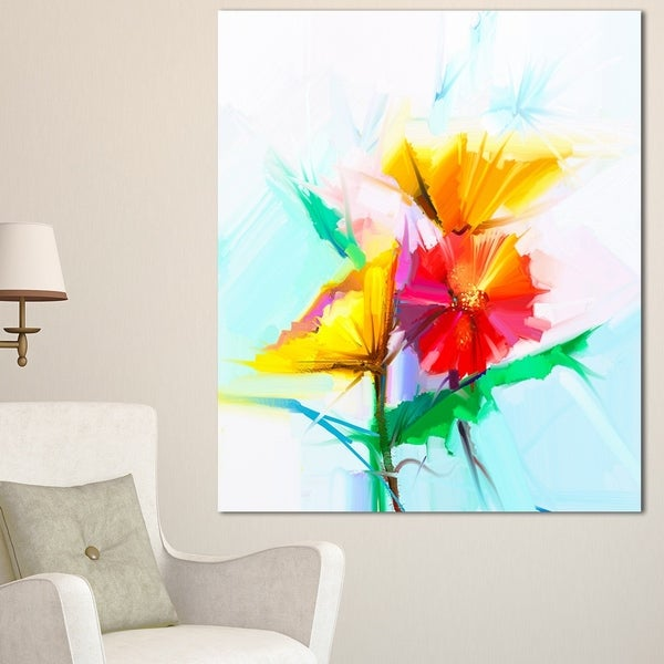 Designart u0026#x27;Still Life Yellow Red Gerbera Floweru0026#x27; Modern Floral & Designart u0027Still Life Yellow Red Gerbera Floweru0027 Modern Floral Wall ...