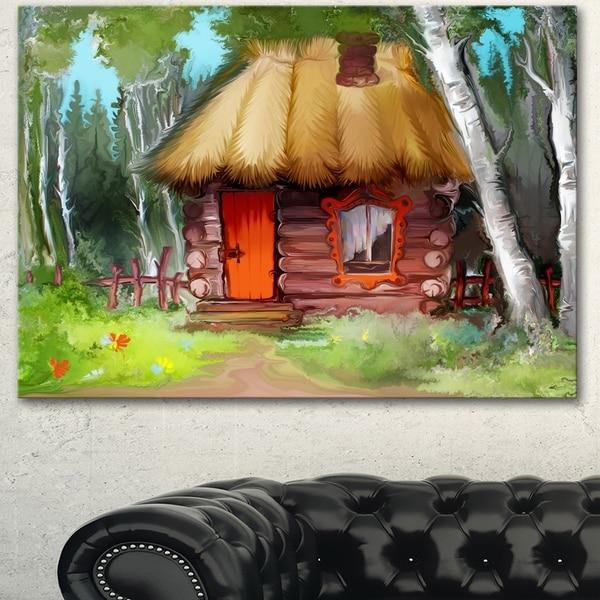 Designart 'Rural Landscape with House' Extra Large Landscape Art Canvas - Green