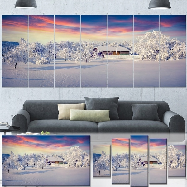 Designart 'Snowfall Covering Trees and Houses' Large Landscape Art Canvas Print