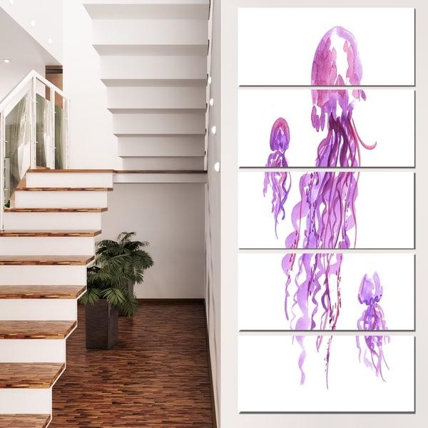 Designart 'Purple Jellyfish Watercolor' Animal Wall Art Print