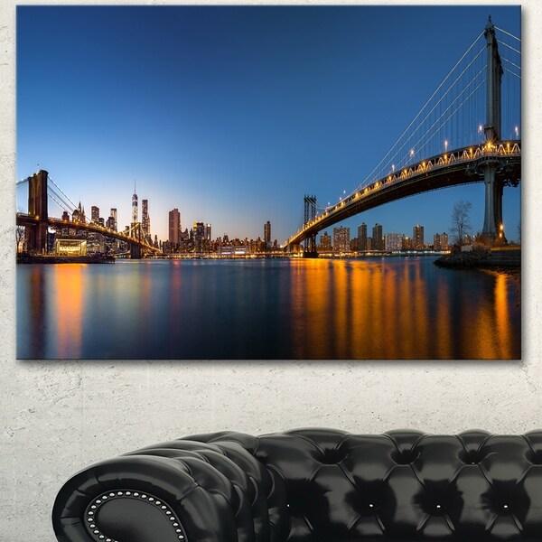 Designart 'New York City Dusk Panorama' Extra Large Cityscape Wall Art on Canvas