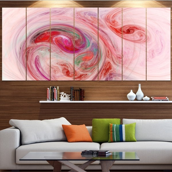 Designart 'Red Fractal Abstract Illustration' Abstract Canvas Wall Art