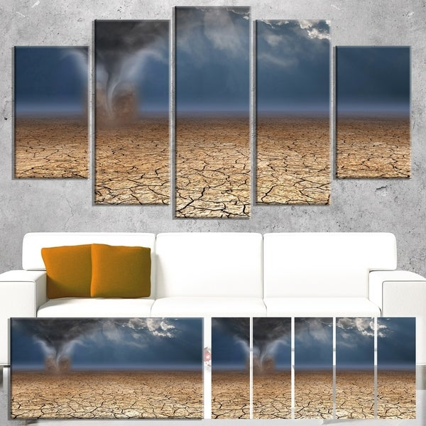 Designart 'Dust Devil in the Desert' Landscape Artwork Canvas Print