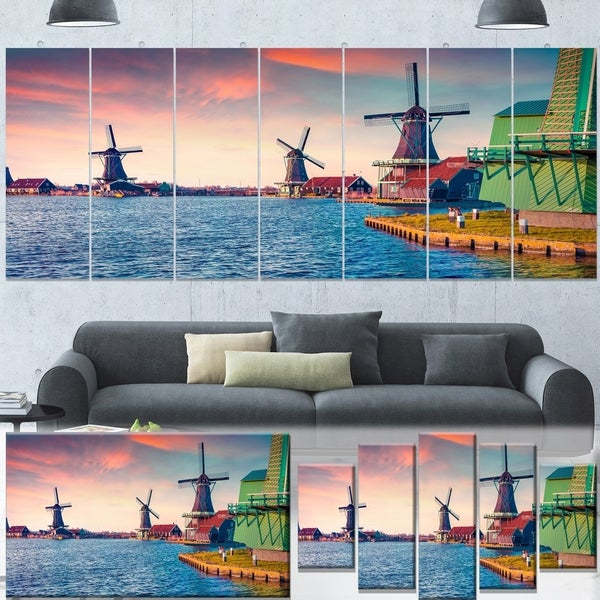 Designart 'Zaandam Mills on Water Channel' Large Landscape Art Canvas Print