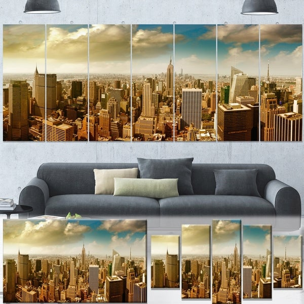 Designart 'Midtown and Downtown Manhattan' Modern Cityscape Canvas Artwork