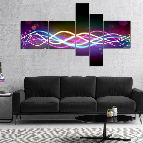 Designart 'Multi colored Tangled Lines' Abstract Canvas art print