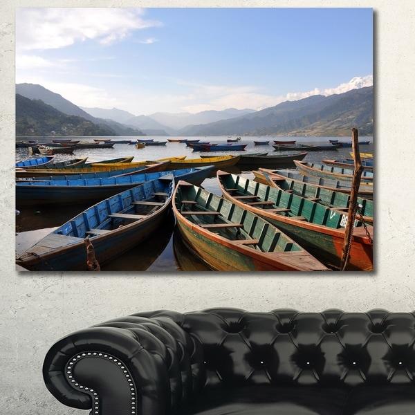 Designart 'Colorful Boats Pokhara Lake' Boat Canvas Artwork