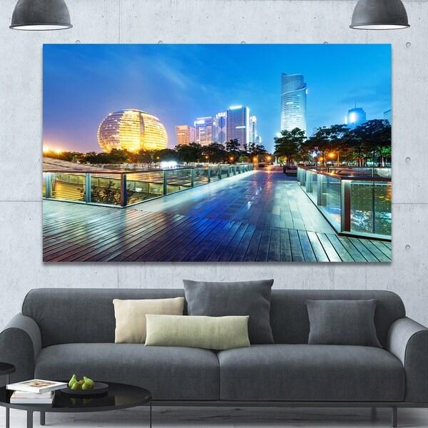 Designart 'China Hangzhou Skyscrapers' Modern Cityscape Wall Art