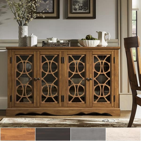 Shop Gwen 60-inch Glass Front Console Table Buffet Server by ...