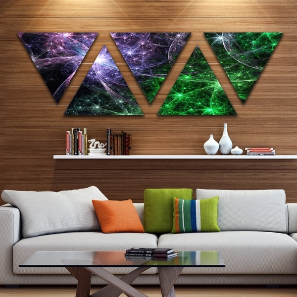Designart 'Green Purple Colorful Fireworks' Contemporary Art on Triangle Canvas - 5 Panels