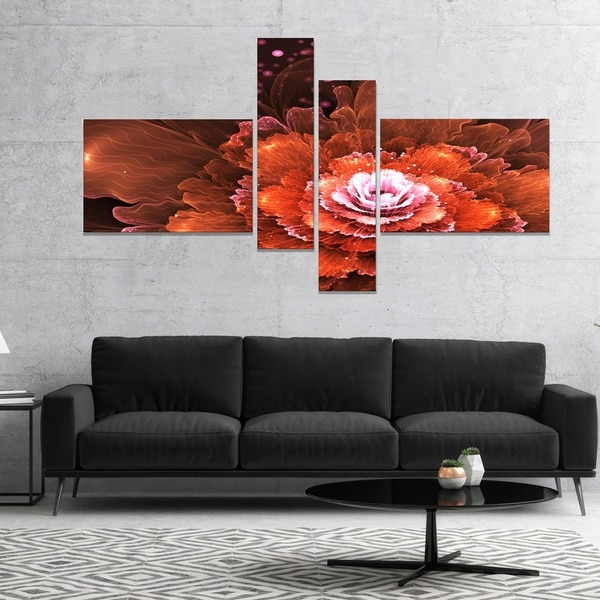 Designart 'Fractal Orange Flower' Floral Art Canvas Print