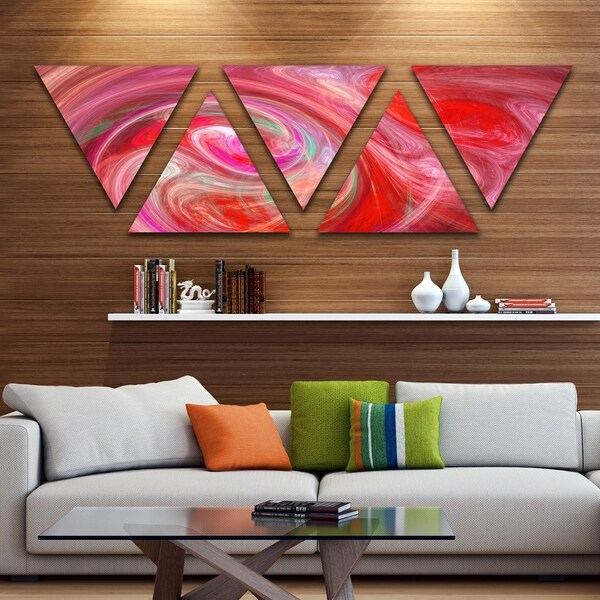 Designart 'Red Fractal Pattern with Circles' Contemporary Triangle Canvas Art Print - 5 Panels