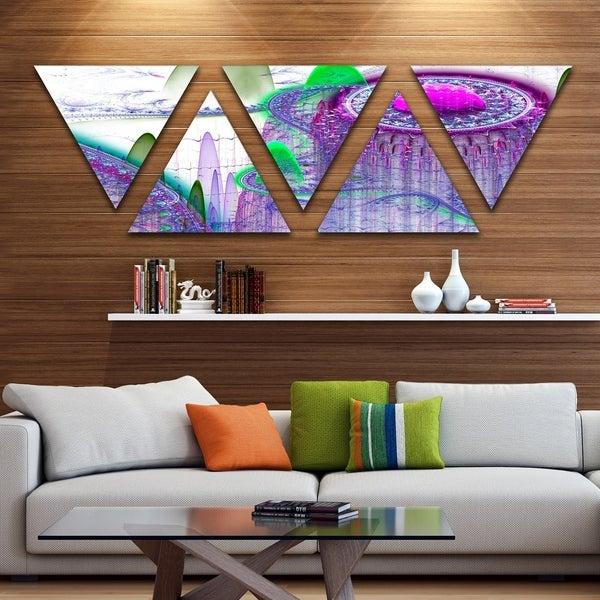 Designart 'Purple Fractal Infinite World' Contemporary Art on Triangle Canvas - 5 Panels