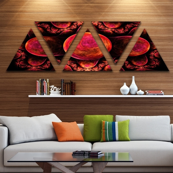 Designart 'Red Exotic Fractal Pattern' Contemporary Art on Triangle Canvas - 5 Panels