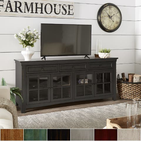 Copper Grove Ahtari 3-drawer TV Console with Glass Doors and Built-in Power Strip