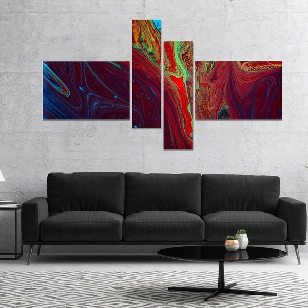 Designart 'Dark Red Abstract Acrylic Paint Mix' Abstract Art on Canvas