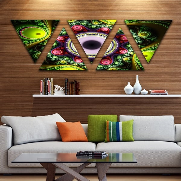 Designart 'Green on Black Pattern with Circles' Contemporary Triangle Canvas Art Print - 5 Panels