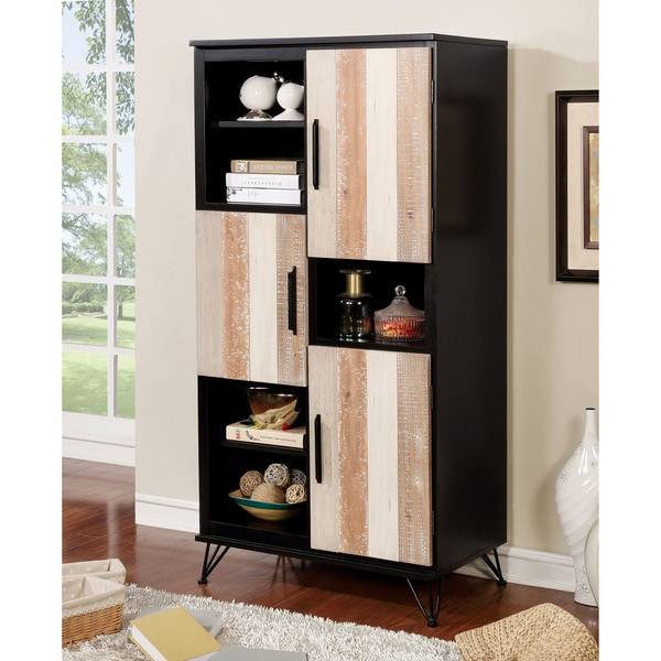 Furniture Of America Freddie Contemporary Sawblade Style 3 Door Pier Cabinet