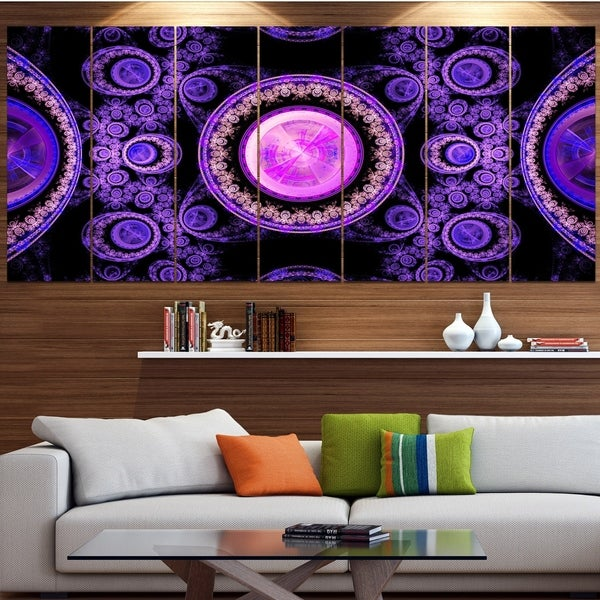 Designart 'Purple Psychedelic Relaxing Art' Abstract Wall Art on Canvas