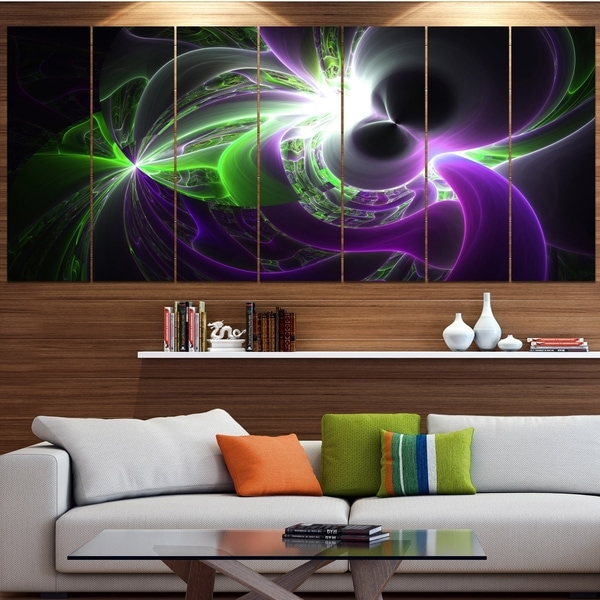 Designart 'Glowing Purple Green Plasma' Abstract Wall Art Canvas