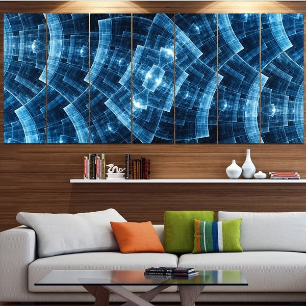 Designart 'Blue Protective Metal Grids' Abstract Wall Art on Canvas