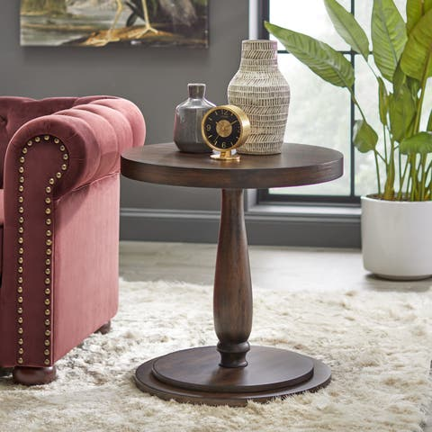 Lifestorey Avignon Burntwood Round SideTable