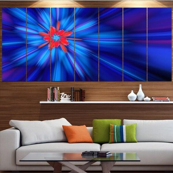 Designart 'Rotating Fractal Blue Fireworks' Floral Wall Art on Canvas