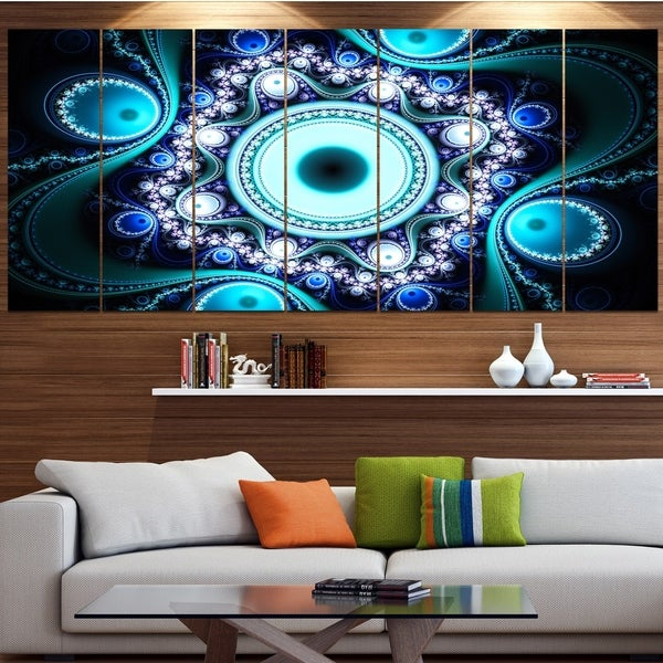 Designart 'Turquoise Fractal Pattern with Circles' Abstract Wall Art on Canvas