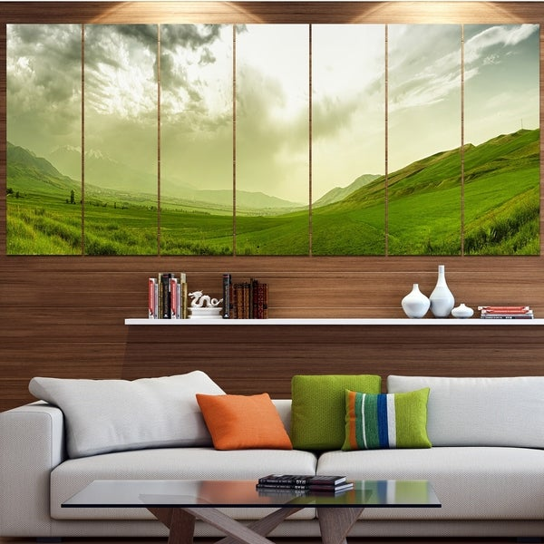Designart 'Meadow under Clouds Panorama' Landscape Wall Artwork