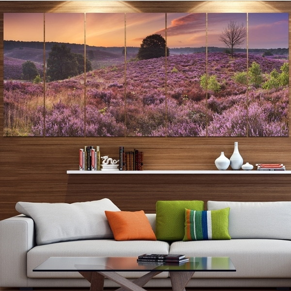 Designart 'Blooming Heather at Dawn Panorama' Landscape Wall Art on Canvas