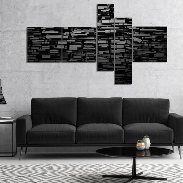 Designart 'Black 3D Geometric Background' Abstract Canvas Art Print