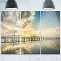 Designart - Long Jetty Foreshore Reserve with Clouds - Sea Bridge Glossy Metal Wall Art