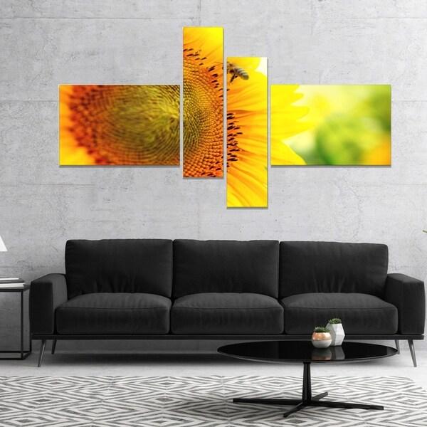 Designart 'Sunflower Blooming on Field' Abstract Canvas Wall Art