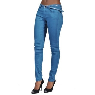C'est Toi Belted 5-pocket Solid Color Skinny Denim Marine Blue Jeans (More options available)