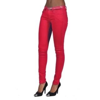 C'est Toi Belted 5-pocket Solid Color Skinny Denim Scarlet Jeans