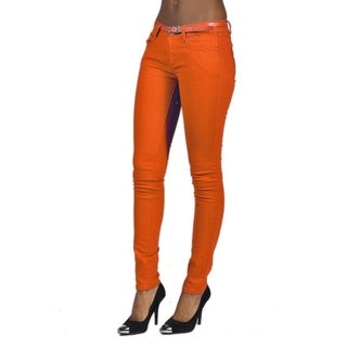 C'est Toi Belted 5-pocket Solid Color Skinny Denim Orange Jeans
