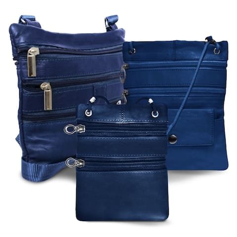 AFONiE All Leather Set Of 3 Casual On The Go Bags