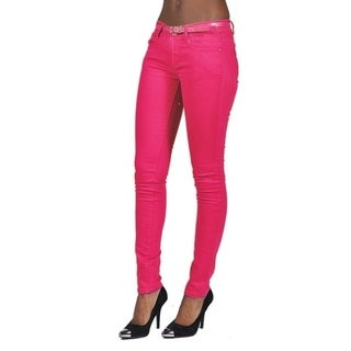 C'est Toi Belted 5-pocket Solid Color Skinny Denim Fuchsia Jeans