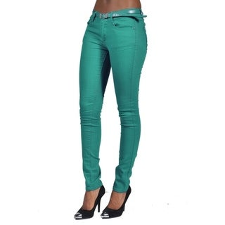 C'est Toi Belted 5-pocket Solid Color Skinny Denim Jade Jeans