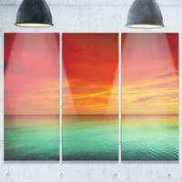 Designart - Artist Blue Red Sunset - Modern Seashore Glossy Metal Wall Art