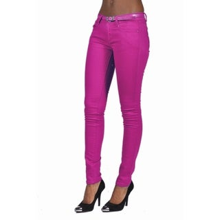 C'est Toi Belted 5-pocket Solid Color Skinny Denim Plum Jeans