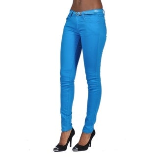 C'est Toi Belted 5-pocket Solid Color Skinny Denim Turquoise Jeans