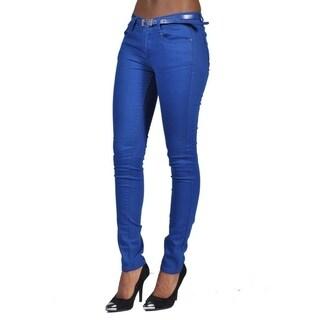 C'est Toi Belted 5-pocket Solid Color Skinny Denim Royal Jeans