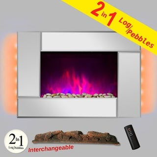 "AKDY FP0050 36"" Tempered Glass Electric Fireplace Heat Wall Mount Adjustable Heater 2 Setting LED Log 2-in-1 Pebbles"