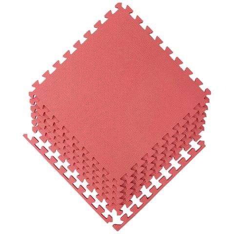 """Ottomanson Multipurpose Interlocking Puzzle Eva Foam Tiles-Anti-Fatigue Mat 24 Sq. Ft, 24"""" x 24"""" Tiles (6 Count)"""