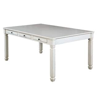 Furniture Of America Aubrie Antique White Wood Transitional Storage Drawer Dining Table